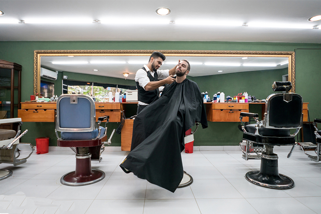 A man is shaving